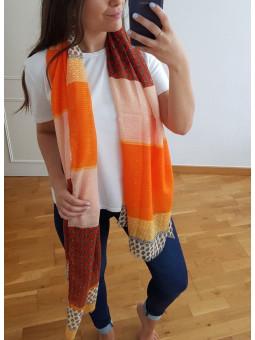 Pañuelo franjas tonos naranja