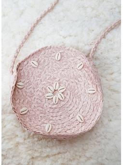 Bolso redondo rosa conchitas