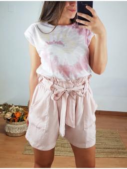 Pantalón rosa corto lazada