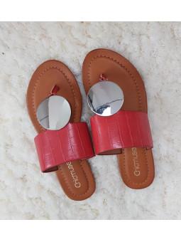 Sandalia rojas círculo...