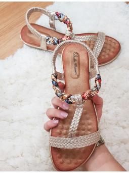 Sandalia doradas trenza en...