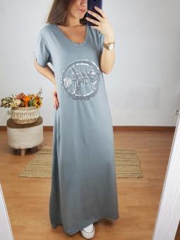 Vestido largo gris Pez (M18)