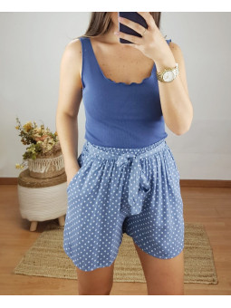 Pantalon azul corto topitos...