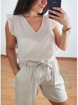 Blusa mosaico beige/blanco...