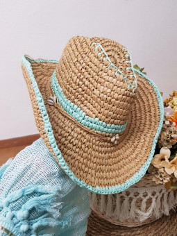 Sombrero rafia ribete aguamar