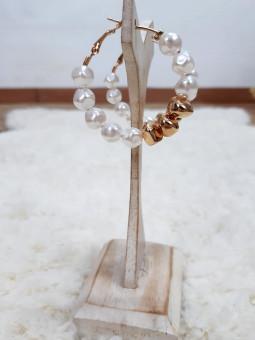 Pendientes aros perlas...