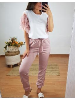Pantalón largo rosa...