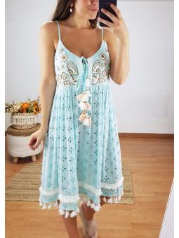 Vestido azul turquesa...