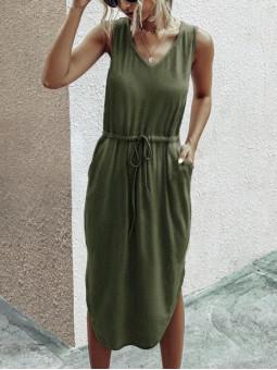Vestido verde militar...