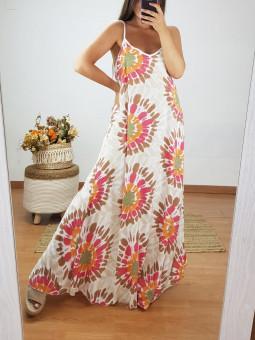 Vestido largo acuarela flor...