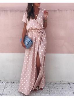 Vestido rosa lunares (V07)