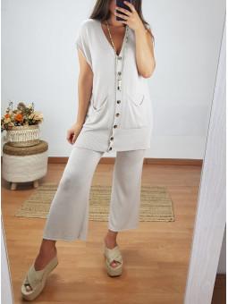 Pantalón ancho beige punto...