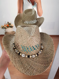 Sombrero rafia conchitas...