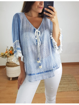 Blusa Lucia rayitas azul y...
