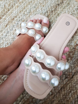 Sandalia beige doble tira...