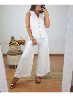 Pantalón fluido blanco...
