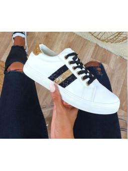 Zapatillas blancas franja...