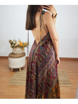 Vestido India tonos granate
