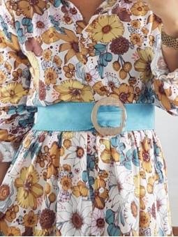 Cinturón fajín tela azul...