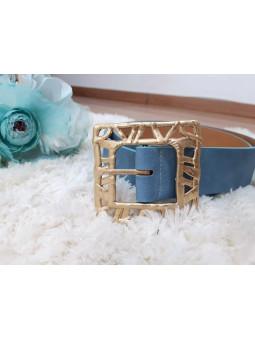 Cinturón azul hebilla...