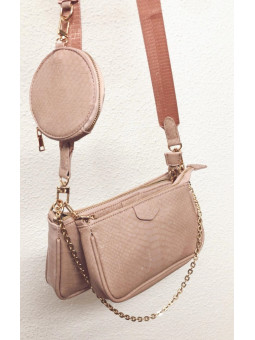 Bolso triple rosa Paris...