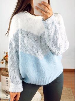 Suéter lana tricolor...