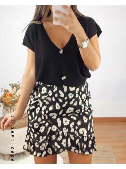Falda corta negra leopardo...