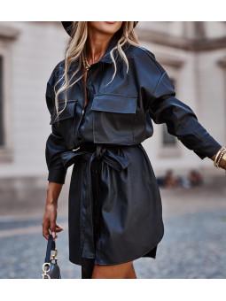 Vestido negro polipiel...