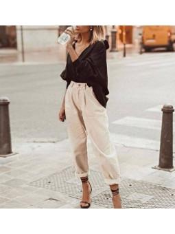 Pantalón beige slouchy