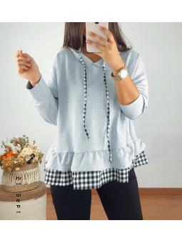 Sudadera gris efecto camisa...
