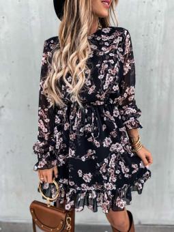Vestido negro flores...
