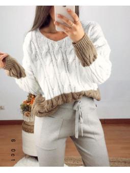 Suéter lana tricolor gris,...