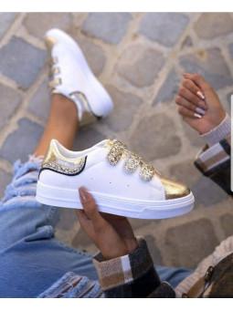 Zapatilla blanca glitter...