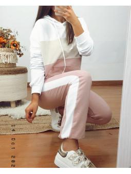 Chándal beig rosa blanco (M16)