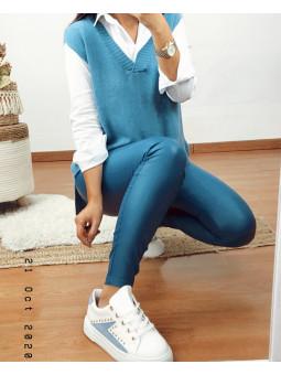 Pantalón encerado azul...