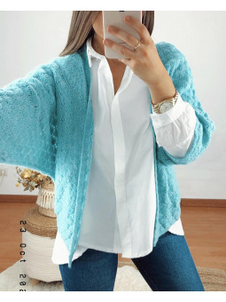 Chaqueta turquesa lana...