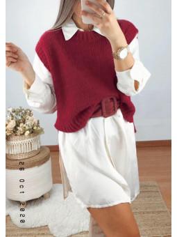 Chaleco/suéter tono vino (V25)