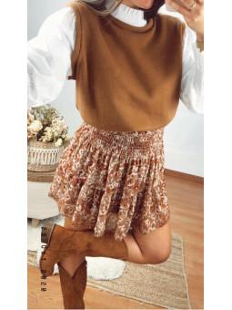 Falda corta marrón engomada...
