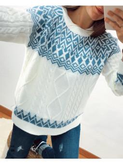 Suéter blanco Christmas...
