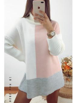 Suéter/vestido rosa claro,...