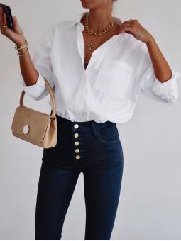 Camisa blanca un bolsillo Unna