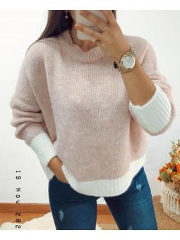 Suéter suave rosa bajo...