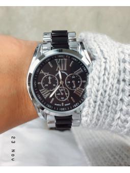 Reloj plata y negro Style