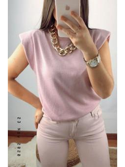 Suéter punto fino rosa lamé...