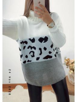 Suéter combinado blanco,...