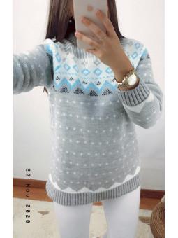 Suéter snow gris y detalles...