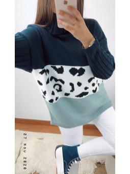 Suéter combinado azul...