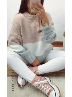 Suéter tricolor rosa,...
