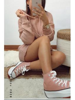 Vestido rosa de punto con...
