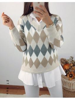 Suéter rombos tonos beige y...